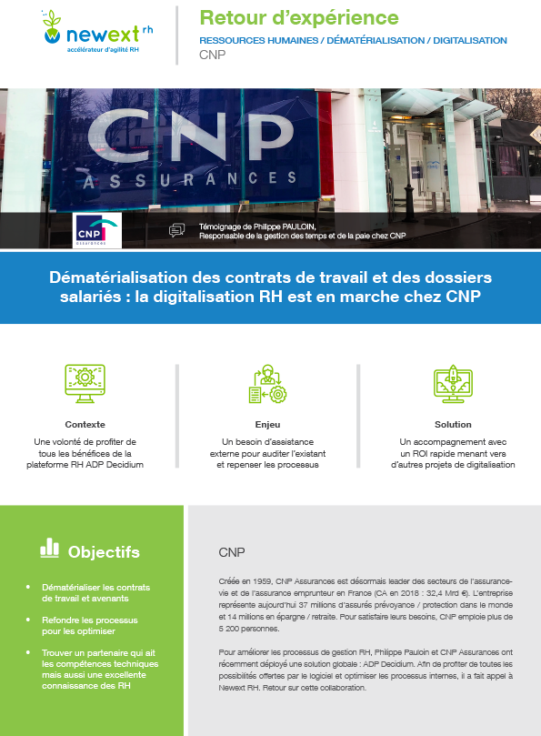 Témoignage CNP : Dématérialisation des contrats de travail et des dossiers salariés : la digitalisation RH est en marche chez CNP